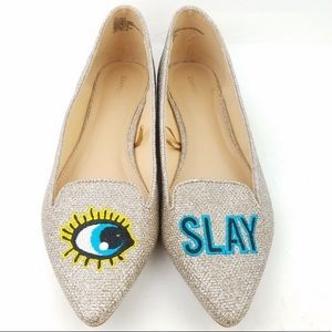 """Express """"Eye Slay"""" pointed flats, never worn"""